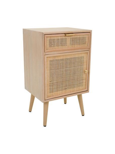 Comodino in legno Cayetana, Maniglie: metallo, Piedini: legno di bambù verniciato, Marrone, Larg. 42 x Alt. 71 cm