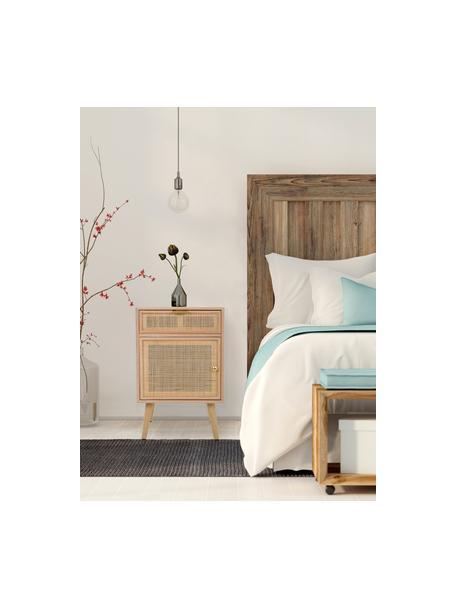 Nachtkastje Cayetana Fichy van hout, Frame: MDF, fineer, Handvatten: metaal, Poten: bamboehout, gelakt, Bruin, 42 x 71 cm
