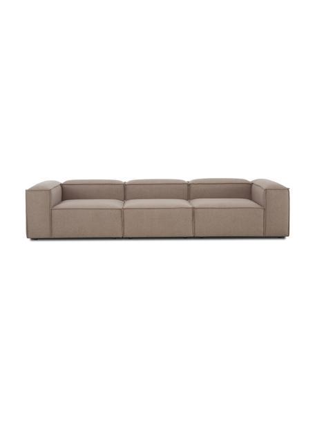 Sofá modular Lennon (4plazas), Tapizado: 100%poliéster Alta resis, Estructura: madera de pino maciza, ma, Patas: plástico Las patas están , Tejido marrón, An 327 x F 119 cm
