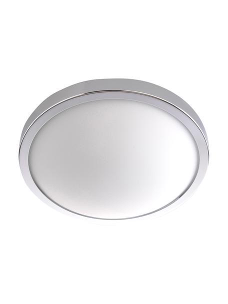Plafoniera piccola Calisto, Cornice: acciaio, Disco diffusore: vetro, Cromo, bianco, Ø 22 x Alt. 8 cm