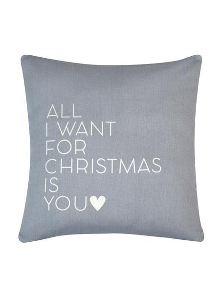 Kussenhoes All I Want met opschrift in grijs/wit, Katoen, panamabinding, Grijs, ecru, 40 x 40 cm