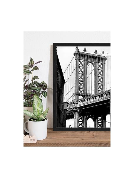 Impresión digital enmarcada Manhattan Bridge, Negro, blanco, An 43 x Al 53 cm