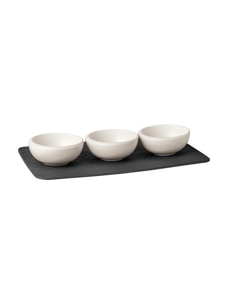 Set de fuente de servir con cuencos New Moon, 3 pzas., Cuencos: porcelana, Bandeja: piedra, Blanco, negro, Set de diferentes tamaños
