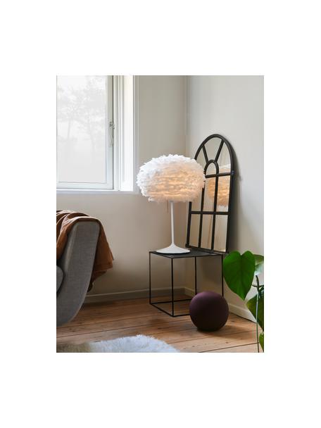 Grote tafellamp Eos van veren, Lampenkap: ganzenveren, Lampvoet: aluminium, gelakt, Wit, Ø 45 x H 72 cm