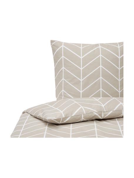 Baumwoll-Bettwäsche Mirja mit grafischem Muster, Webart: Renforcé Fadendichte 144 , Beige, Weiß, 135 x 200 cm + 1 Kissen 80 x 80 cm
