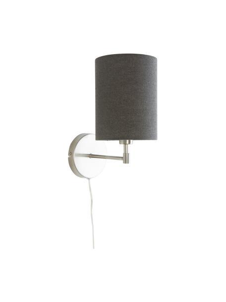 Wandleuchten Seth mit Stecker, 2 Stück, Lampenschirm: Textil, Grau, Nickelfarben, Ø 15 x H 32 cm