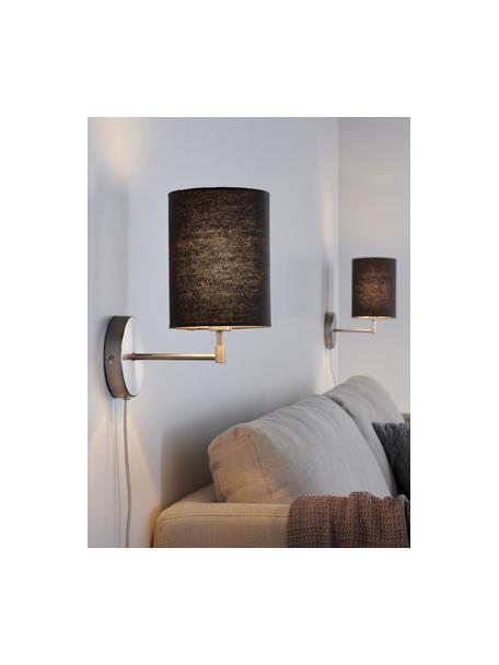 Wandlampen Seth met stekker, 2 stuks, Lampenkap: textiel, Grijs, nikkelkleurig, Ø 15 x H 32 cm