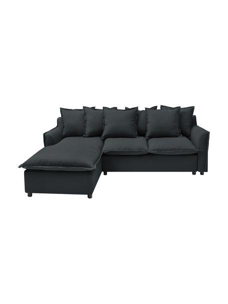 Sofa narożna z funckją spania i miejscem do przechowywania Mona, Tapicerka: 100% poliester, wodoodpor, Stelaż: drewno naturalne, płyta w, Nogi: tworzywo sztuczne, Antracytowy, S 230 x G 170 cm