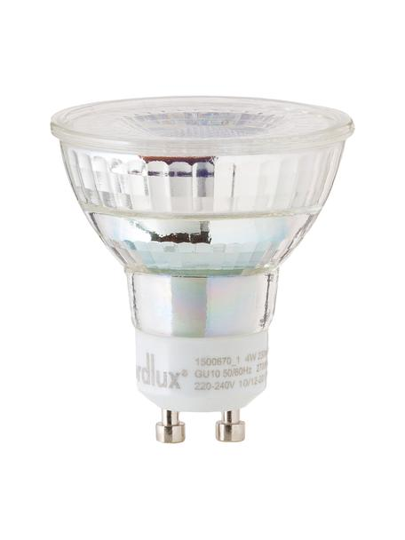 GU10 Leuchtmittel, 4W, warmweiß, 1 Stück, Leuchtmittelschirm: Glas, Leuchtmittelfassung: Aluminium, Transparent, Ø 5 x H 6 cm