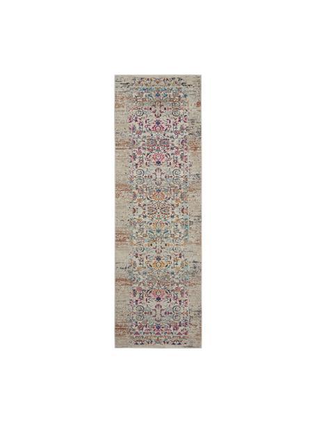 Laagpolige loper Kashan met gekleurde decoratie, Bovenzijde: 100% polypropyleen, Onderzijde: latex, Beige, multicolour, 60 x 175 cm