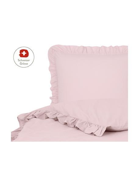 Gewaschener Baumwoll-Bettdeckenbezug Florence mit Rüschen, Webart: Perkal Fadendichte 180 TC, Rosa, 160 x 210 cm