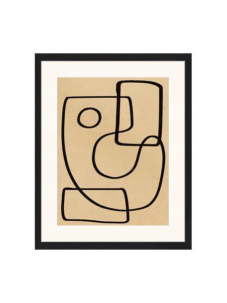 Ingelijste digitale print Organic Charcol Abstract, Afbeelding: digitale print op papier,, Lijst: gelakt hout, Zwart, donkerbeige, 43 x 53 cm
