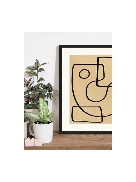 Impresión digital enmarcada Organic Charcol Abstract, Negro, beige oscuro, An 43 x Al 53 cm