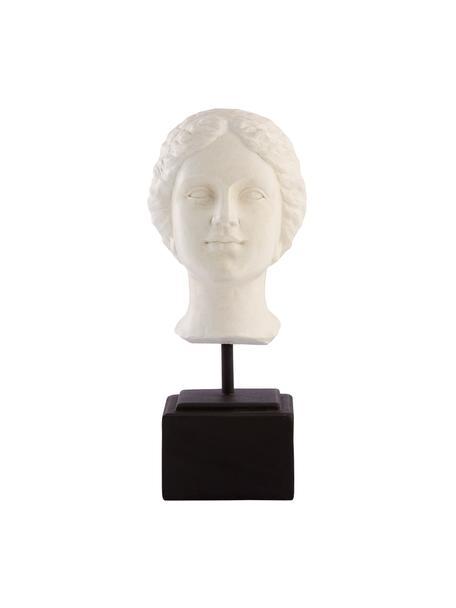 Handgemaakt decoratief object Serafina Girl, Kunststof, Wit, zwart, 13 x 35 cm