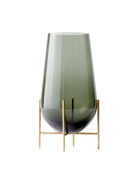 Grote design vaas Échasse, Frame: messing, Vaas: mondgeblazen glas, Messingkleurig, Ø 22 x H 44 cm