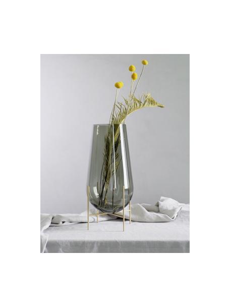 Vaso grande di design Échasse, Struttura: ottone, Vaso: vetro soffiato, Ottonato, Ø 15 x Alt. 44 cm