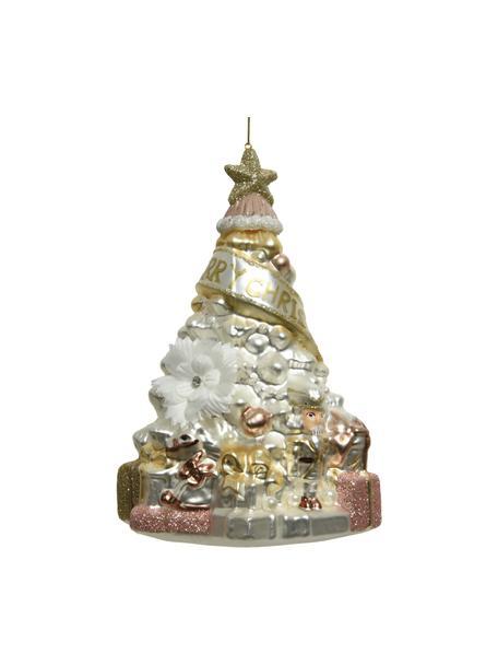 Baumanhänger Mery H 17 cm, Goldfarben, Kupferfarben, Weiss, Ø 12 x H 17 cm