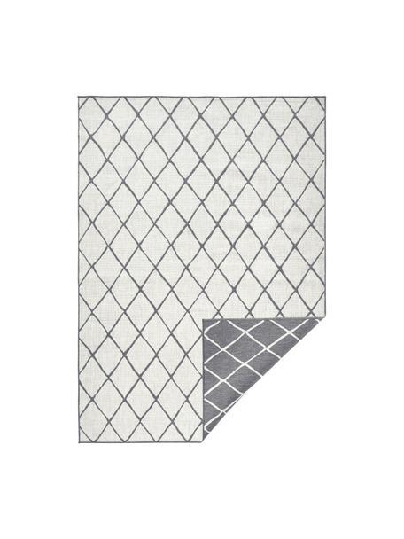 Dubbelzijdig in- en outdoor vloerkleed Malaga met ruitjesmotief, grijs/crèmekleurig, Grijs, crèmekleurig, B 80 x L 150 cm (maat XS)