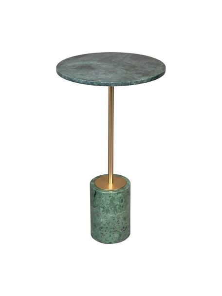 Tavolino rotondo in marmo Gunnar, Gambe: metallo verniciato a polv, Verde marmorizzato, Ø 38 x Alt. 65 cm