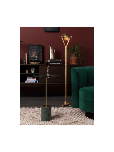 Okragły stolik pomocniczy z marmuru Gunnar, Noga: metal malowany proszkowo, Zielony, marmurowy, Ø 38 x W 65 cm
