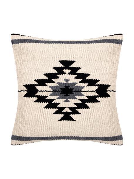 Geweven kussenhoes Toluca in ethno stijl, 100% katoen, Zwart, beige, grijs, 45 x 45 cm