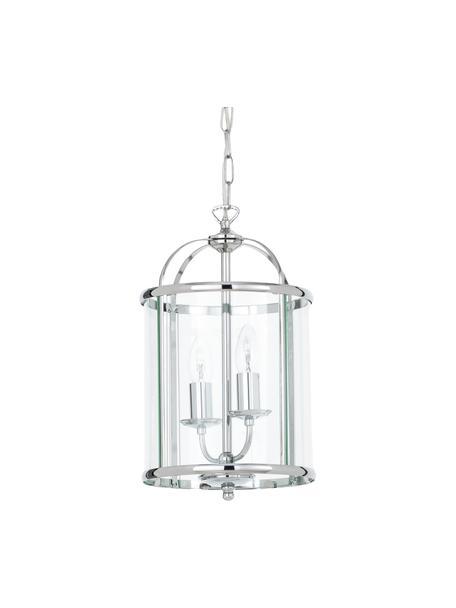 Kleine hanglamp Budgie van glas, Lampenkap: verchroomd nikkel, glas, Baldakijn: verchroomd nikkel, Chroomkleurig, transparant, Ø 23  x H 41 cm