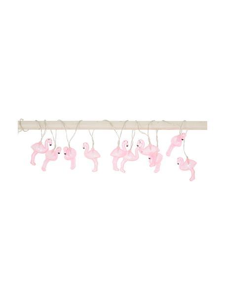 LED-Lichterkette Flamingo, 230 cm, 10 Lampions, Lampions: Kunststoff, Pink, L 230 cm