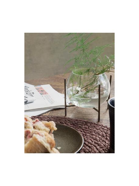 Vaso a sfera con struttura in metallo Ada, Struttura: metallo rivestito, Vaso: vetro, Ottonato, trasparente, Ø 8 x Alt. 11 cm