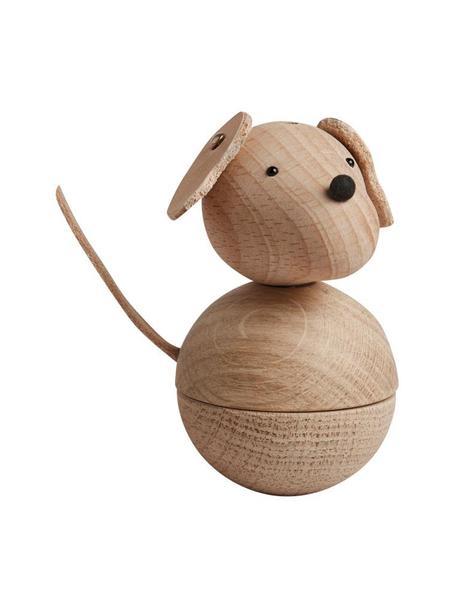 Decoratief object Dog Leika, Ophanglus: leer, Houtkleurig, zwart, Ø 6 x H 9 cm