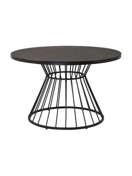 Mesa redonda de metal Tropea, Tablero: vidrio, Estructura: metal con pintura en polv, Negro, Ø 110 cm
