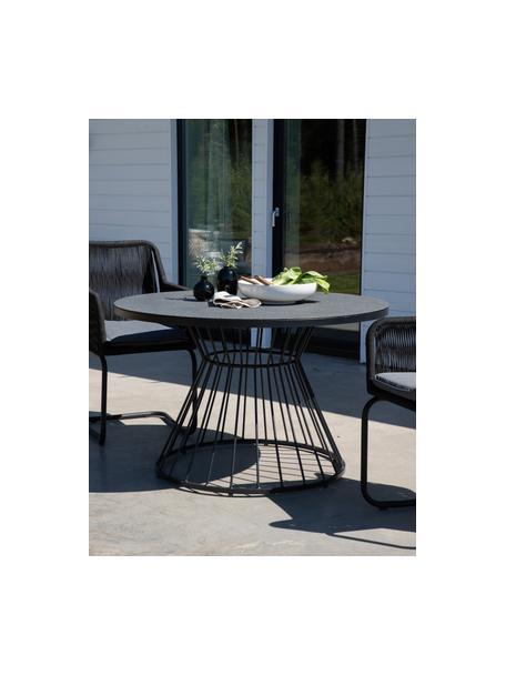 Tavolo rotondo con struttura in metallo Tropea, Struttura: metallo verniciato a polv, Nero, Ø 110 cm
