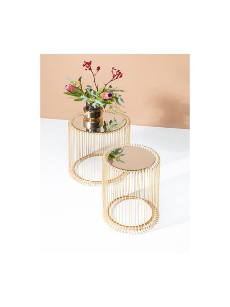 Set 2 tavolini da salotto con piano in vetro Wire, Piano d'appoggio: vetro specchiato, Struttura: metallo verniciato a polv, Ottonato, Set in varie misure