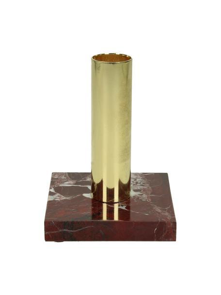 Portacandele in marmo Maria, Candelabro: alluminio rivestito, Rosso, Larg. 8 x Alt. 11 cm