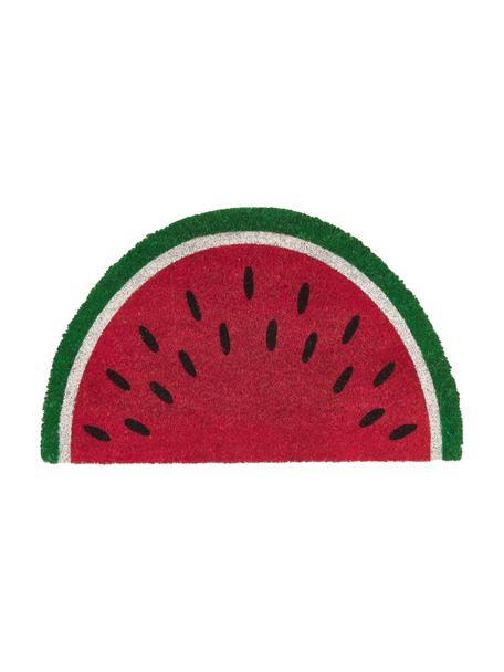 Fussmatte Watermelon, Oberseite: Kokosfaser, Unterseite: Kunststoff (PVC), Rot, Grün, Weiss, Schwarz, 43 x 71 cm