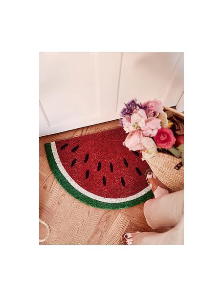 Felpudo Watermelon, Parte superior: fibras de coco, Reverso: plástico (PVC), Rojo, verde, blanco, negro, An 43 x L 71 cm
