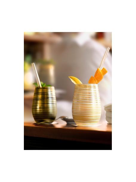 Vasos cóctel de cristal Twister, 6uds., Cristal recubierto, Negro, dorado, Ø 9 x Al 12 cm