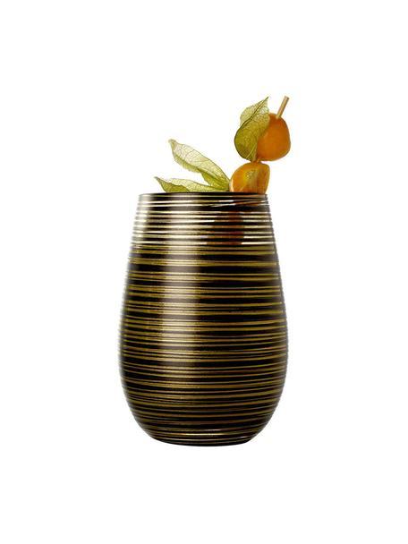 Szklanka do koktajli ze szkła kryształowego Twister, 6 szt., Szkło kryształowe, powlekane, Czarny, odcienie złotego, Ø 9 x W 12 cm