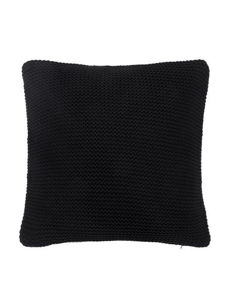 Gebreide kussenhoes Adalyn in zwart, 100% katoen, GOTS-gecertificeerd, Zwart, 50 x 50 cm