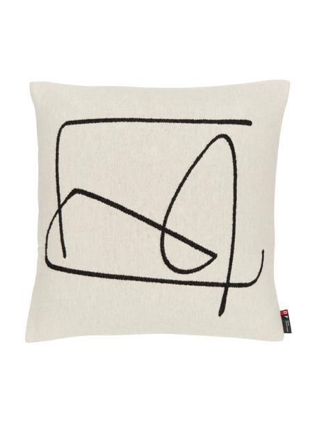 Katoenen kussenhoes Nova met abstracte print, Wit, zwart, 50 x 50 cm