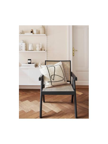 Kissenhülle Nova mit abstraktem Print, Bezug: 85% Baumwolle, 8% Viskose, Weiß, Schwarz, 50 x 50 cm