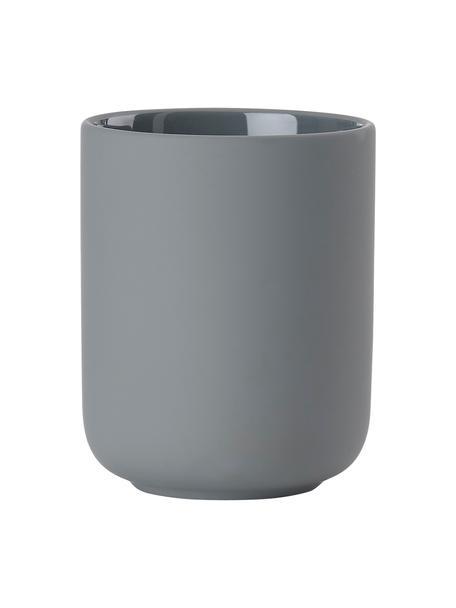 Porta spazzolino in gres Omega, Terracotta rivestita con superficie soft-touch (materiale sintetico), Grigio opaco, Ø 8 x Alt. 10 cm