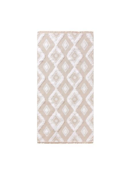 Alfombra lavable de algodón texturizada con flecos Oslo Squares, estilo boho, 100%algodón, Blanco crema, beige, An 75 x L 150 cm (Tamaño XS)