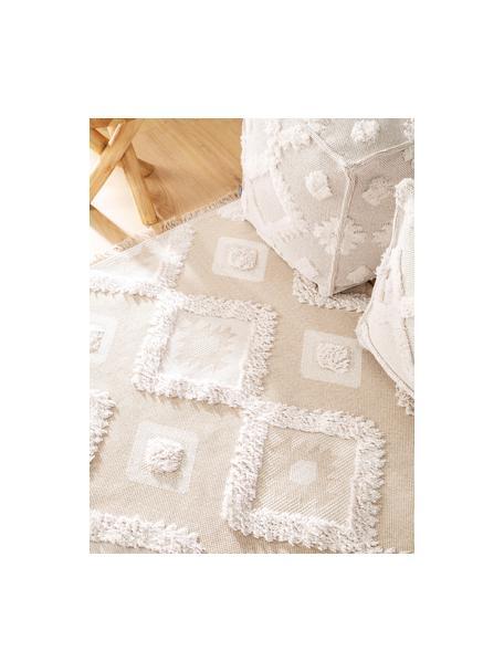 Wasbaar katoenen vloerkleed Oslo Squares met hoog-laag-structuurpatroon en franjes, 100% katoen, Crèmewit, beige, B 75 x L 150 cm (maat XS)