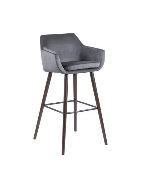 Samt-Barstühle Nora in Grau, 2 Stück, Bezug: Polyestersamt 25.000 Sche, Beine: Eichenholz, gebeizt und g, Samt Dunkelgrau, Dunkelbraun, 55 x 101 cm