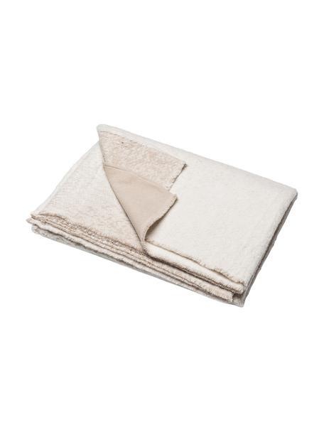 Katoenen  decoratieve plaid met kleurverloop in crèmekleur/beige, 85% katoen, 15% polyacryl, Crèmewit, beige, 130 x 200 cm