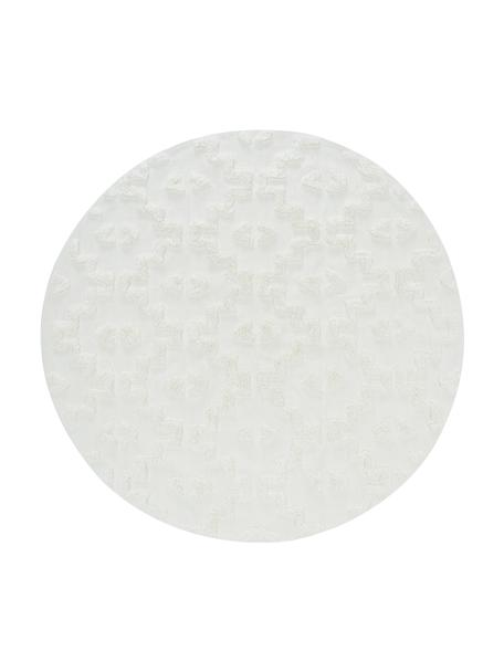Rond katoenen vloerkleed Chio met verhoogde hoog-laag structuur, 100% katoen, Crèmekleurig, Ø 120 cm (maat S)