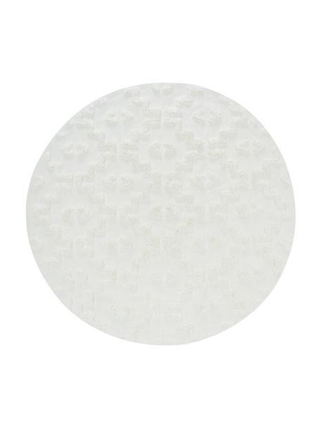 Tappeto rotondo in cotone con struttura alta-bassa Chio, 100% cotone, Crema, Ø 120 cm (taglia S)