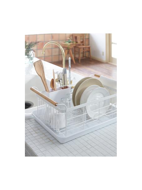 Abtropfgestell Tosca, Korb: Stahl, beschichtet, Griffe: Holz, Weiss, Holz, 47 x 20 cm