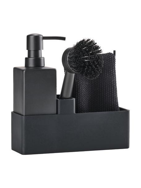 Afwasmiddel dispenser Parta met afwasborstel in zwart, 3-delig, Keramiek, siliconen, Zwart, 19 x 21 cm