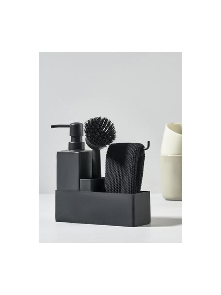Komplet z dozownikiem do płynu naczyń i szczotki Singles, 3 elem., Ceramika, silikon, Czarny, S 19 x W 21 cm